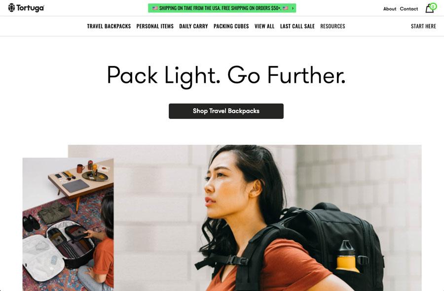 tortugabackpacks.com landing page